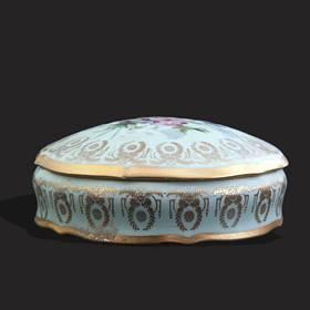 Resim Limoges el boyama 24k altın iş kutu