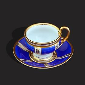 Resim Bavaria 24k altın işleme eşsiz kulp sax mavi fincan