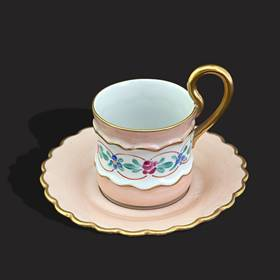 Resim Limoges eşsiz el boyama çift saray fincanı