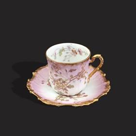 Resim Limoges el boyama çok eski butik fincan