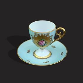 Resim Limoges damgalı altın yaldız el boyama eşsiz fincan