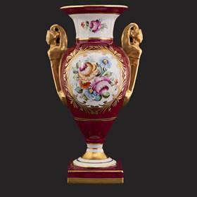 Resim Limoges el boyama altın kulp vazo