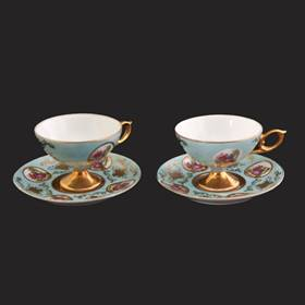 Resim Fransız altın el boyama 2 adet fincan