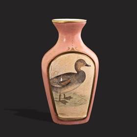 Resim Floransa el boyama pudra pembe kuşlu vazo