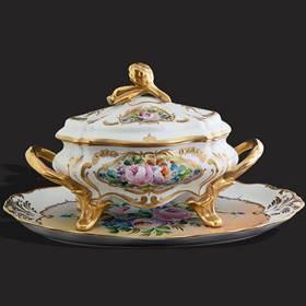 Resim Limoges el boyama 24k altın kallavi çorbalık