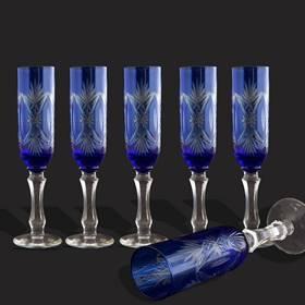 Resim Mavi Kristal Şampanya Kadehi set