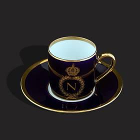 Resim Napoleon Limoges el boyama 24k altın kobalt mavi fincan
