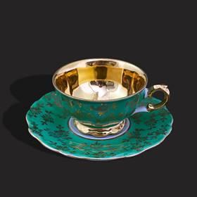 Resim Bavaria bareuther eşsiz yeşil altın iş fincan