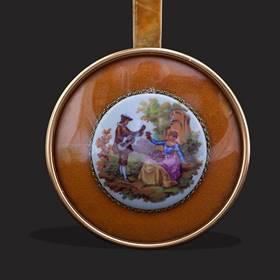 Resim Limoges fragonard el boyama kadife çift çerçeve