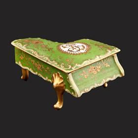 Resim Limoges 24 ayar altın el boyama eşsiz gerçek antika piyano kutu