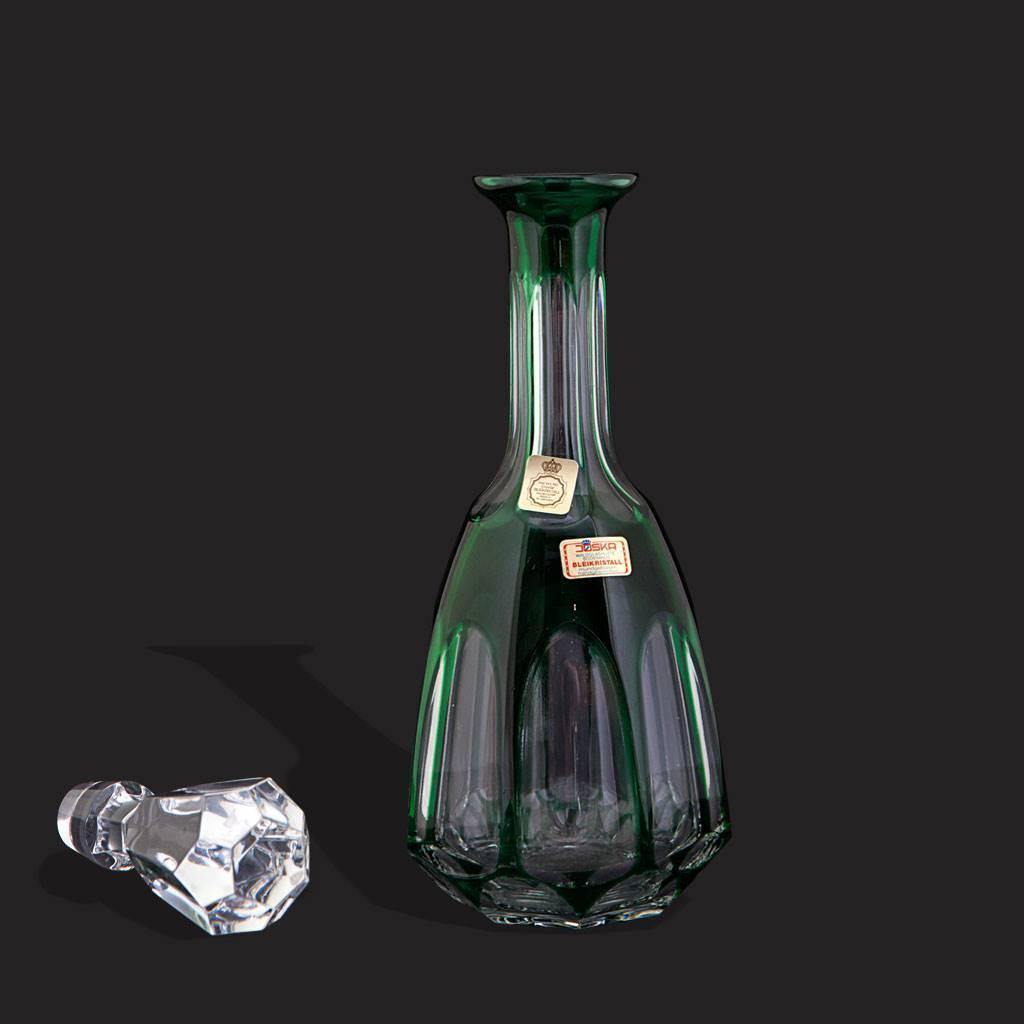 resm Bohemia zümrüt yeşili el yapımı eşsiz kristal karaf